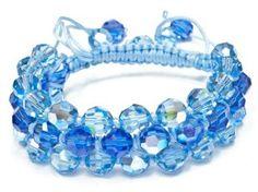 Free macrame pattern: Charlotte's Web Multi-Strand Shamballa Bracelet. Follow the tutorial to learn how to make cool macrame bracelets with a lot of sparkle!