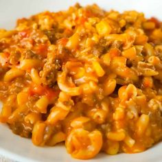 Cheesy Beef Goulash with Corn is an easy weeknight dinner recipe that takes less than 30 minutes from start to finish. This one pot dinner is loaded with diced tomatoes, macaroni noodles, ground beef corn and mozzarella cheese. Goulash Recipe With Tomato Soup, Goulash With Corn, Beef Goulash, Goulash Recipes, Tomato Soup Recipes, Ground Beef Recipes Easy, Beef Recipes For Dinner, Diet Recipes, Yummy Recipes