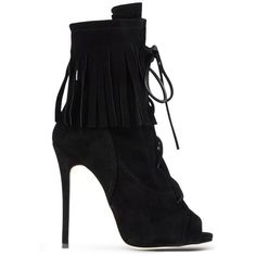 Giuseppe Zanotti Design Black Suede Peep-Toe Ankle Boot (£990) ❤ liked on Polyvore featuring shoes, boots, ankle booties, heels, black, high heel stilettos, black heel booties, fringe ankle boots, black suede booties and black peep toe booties