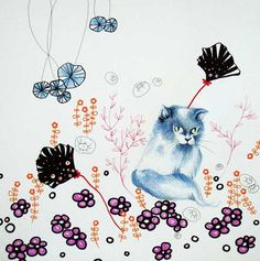SAM PUNZINA :Il gatto blu nel giardino caotico, disegno su cartoncino ,cm 30 x 30, 2013  www.piziarte.net