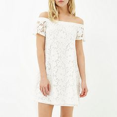 Nail your style with our new collection of women's dresses in River Island. Turn heads with statement sleeves, romantic ruffles and bardot necklines. Lace Dress, White Dress, Casual Outfits, Casual Clothes, Summer Wardrobe, Swing Dress, Festival Fashion, Ruffles, Off The Shoulder