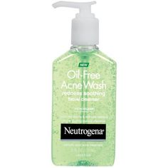 Neutrogena Oil-Free Acne and Redness Facial Cleanser, Soothing Face Wash with Salicylic Acid Acne Medicine, Aloe, and Chamomile to Reduce Facial Redness, 6 fl. Acne Face Wash, Acne Skin, Acne Scars, Cleanser For Oily Skin, Facial Cleanser, Acne Facial, Facial Care, Acne Medicine, Colorful Makeup