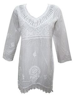 Peasant Tunic Top Cotton Kurti Floral Embroidered White Dress for Women's