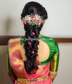 Order Fresh flower poolajada, bridal accessories from our local branches present over SouthIndia, Mumbai, Delhi, Singapore and USA. South Indian Wedding Hairstyles, Bridal Hairstyle Indian Wedding, Indian Hairstyles, Saree Hairstyles, Plaits Hairstyles, Bride Hairstyles, Hairstyles Haircuts, Bridal Hair Plaits, Bridal Hairdo