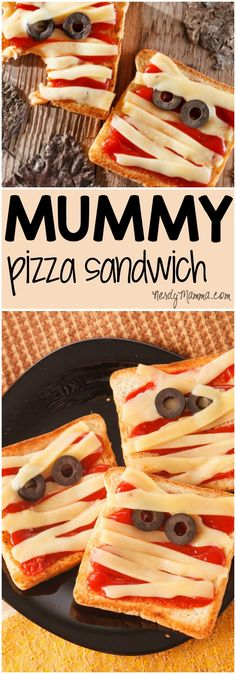 Easy Mummy Pizza Sandwich for Halloween Lunchboxes My kids are going to love these easy sandwiches m Halloween Desserts, Hallowen Food, Theme Halloween, Healthy Halloween, Halloween Treats, Halloween Pizza, Scary Halloween, Halloween Sandwich, Halloween Snacks For Kids