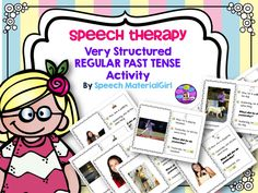 Speech Therapy. A very structured REGULAR PAST TENSE Activity. A good place to start for students w/ this goal.  Picture and written cue provided. #speechtherapy #pasttense