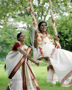 Celebrating Onam - Girls wearing traditional Kerala Saree