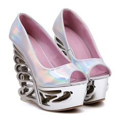 Trendy Women's Peep Toed Shoes With Strange Heel and PU Leather Design Funky Shoes, Fab Shoes, Peep Toe Shoes, Pump Types, Designer Heels, Leather Design, Pu Leather, Open Toe, Shoe Boots