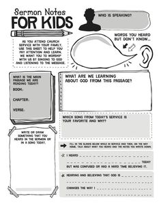 Helping kids take notes during sermon. Could also use when reading the Bible. http://mypicturebible.info