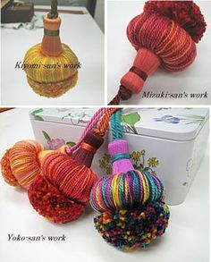 it's like a tassel-pom? Diy Tassel, Tassel Jewelry, Fabric Jewelry, Tassels, Yarn Crafts, Diy And Crafts, Arts And Crafts, Craft Projects, Sewing Projects