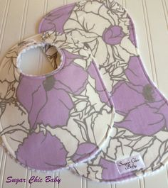Baby Girl Bib & Burp Cloth Set - Lavender Wisteria Cottage Floral - Triple Layer by Sugar Chic Baby, $16.50