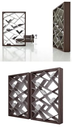 Freestanding double-sided bookcase SHANGHAI by ALIVAR, design Giuseppe Bavuso cement Alicia Varrelmann