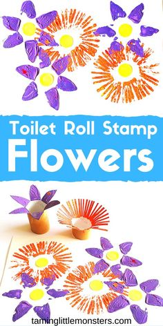 Learn how to turn toilet rolls into flower stamps with this fun Spring art activity for kids. Toddlers and preschoolers will love making a field of wildflowers with this easy craft activity. # spring activities for kids Toilet Roll Stamp Flowers Spring Crafts For Kids, Diy Crafts For Kids, Fun Crafts, Spring Craft Preschool, Flower Craft Preschool, Creative Ideas For Kids, Flower Crafts Kids, Easy Toddler Crafts, Baby Crafts