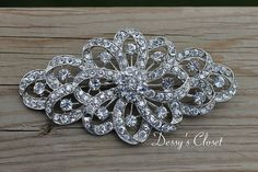 Large Sparkly Rhinestone Brooch with Clear by DessysCloset on Etsy, $15.75
