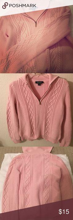 Ralph Lauren Petite Medium Sweater Petite Pullover sweater from Ralph Lauren. Baby pink color. Gently worn. Lauren Ralph Lauren Sweaters Crew & Scoop Necks