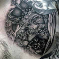 King With Crown And Lion Guys Upper Chest Tattoo