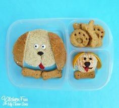 Puppy Dog Bento Lunch with homemade bone crackers. A fun food idea from KitchenFunWithMy3Sons.com