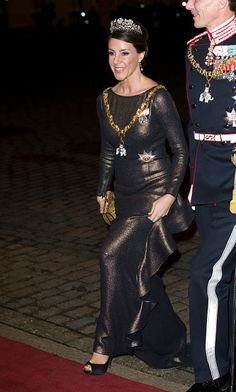 Princess Marie of Denmark arrives at the Traditional New Year's Banquet hosted by Queen Margrethe of Denmark, at, Amalienborg Palace, on January 1, 2017, in Copenhagen, Denmark