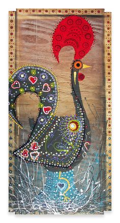 O GALO de BARCELOS     24″ x 48″  Mixed Media on Wood  SOLD