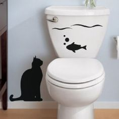 Stickers Design Wall Decor Cat and fish Vinyl Wall decals Toilet Mural Wall Art Cartoon Home Decor Wallpaper House Decoration Vinyl Wall Decals, Wall Stickers, Wc Decoration, Diy Wall, Wall Decor, Ambiance Sticker, Deco Originale, Creation Deco, Mural Wall Art