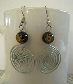 Wired Spiraling Sun Earrings