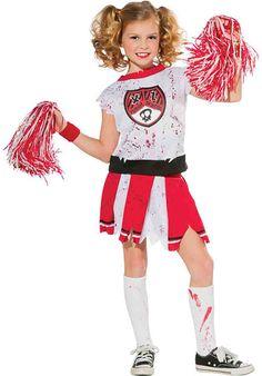 Girls Cheerleader Zombie Cheerleader Zombie Costume comes complete with blood splattered top, jaged hem skirt, pom poms Zombie Cheerleader Halloween Costume, Girl Zombie Costume, Horror Halloween Costumes, Zombie Girl, Maske Halloween, Halloween Kids, Halloween 2017, Group Halloween, Kids Costumes Girls