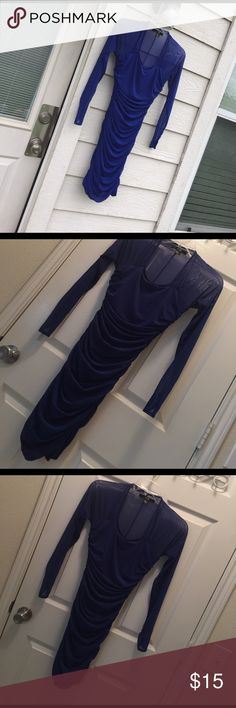 Blue Bodycon Stretch Dress Skin tight and sexy nightclub dress. Clings and confirms to your curves, with a little cowl drapes for interest. Sheer long sleeves. Good, used condition, no tears or holes. Mesh on back seam has a few puckers (see pic), but in no way takes from the overall beauty of this item. XXi Dresses