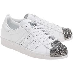 ADIDAS ORIGINALS Superstar 80S Metal Toe White // Sneakers with metallic toe cap found on Polyvore featuring polyvore, women's fashion, shoes, sneakers, cap-toe sneakers, cap toe sneakers, white cap, cap toe shoes and white sole shoes
