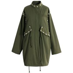 Chicwish Bead Bead World Trench Coat in Army Green ($70) ❤ liked on Polyvore featuring outerwear, coats, green, green trench coat, olive green trench coat, olive green coat, trench coat and olive coat