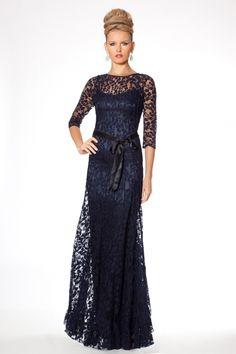 Teri Jon Navy Lace Floor Length Evening Gown | Teri Jon