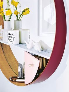 ikea hacks stockholm mirror - painted surround and added shelf