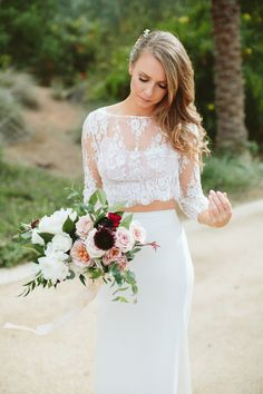 Photography : Paige Jones Photography Read More on SMP: http://www.stylemepretty.com/2016/02/26/al-fresco-scottsdale-wedding-stunning-two-piece-dress/