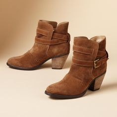 """WRAPPED SUEDE BOOTS--Short, suede and sassy, just the boots you want to wear now. Double-wrapped buckled strap, 2-1/2"""" stacked heel. Imported. Whole and half sizes 6 to 10, 11. These are running 1/2 size larger."""