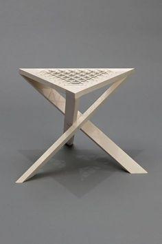 ♂ Unique wood triangle shape stool Source by isiknazmiye