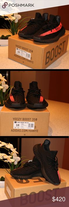 Adidas Yeezy Boost 350 core black red Yeezy boost 350 V2 Core black red DEADSTOCK Brand new, Never worn  Comes in with a box and everything  Size 10 only one left  Shoot my an offer if interested Leave a comment for my number NO TRADES Yeezy Shoes Sneakers