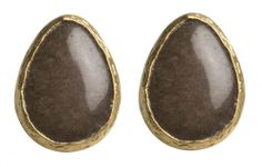 Amazon.com: Natural Stone Black Chalcedony Pear Shape Stud Earrings: Bahar Erdim: Jewelry