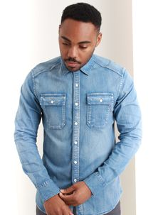 Shop Replay at Accent Clothing, luxury stockists of Replay since Spend over for FREE UK Delivery. Denim Button Up, Button Up Shirts, Light Denim, Replay, Denim Shirt, Clothing, Men, Shopping, Tops