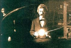 "Samuel Clemens (""Mark Twain"") and Nikola Tesla in the latter's New York City apartment, 1894. https://www.linkedin.com/pulse/lessons-creativity-innovation-from-mad-scientist-named-cory-galbraith"