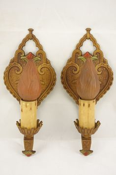 Antique Vintage Pair Art Deco Polychrome Candle Lamp Sconces Wall Light Fixture  #unknown