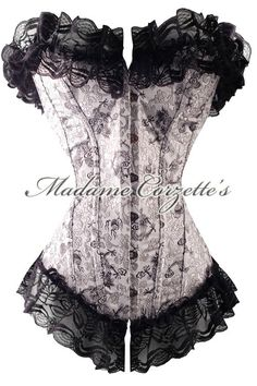 minus the fluff at top and bottom - awesome corset Sexy Corset, Overbust Corset, Waist Trainer Corset, Shirts & Tops, Silver Dragon, Black Dragon, Gothic Outfits, Luxury Lingerie, Girl Outfits