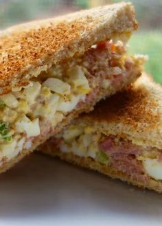 Ham and Egg Salad Sandwich Recipe - great way to use up leftover holiday ham and hard boiled eggs. Will keep for a few days in the fridge. I can eat the whole batch myself! Egg Salad Sandwiches, Sandwiches For Lunch, Soup And Sandwich, Sandwich Recipes, Egg Recipes, Cooking Recipes, Recipies, Pork Recipes, Wrap Recipes