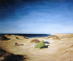 Camp on the Sea of Cortez  Oil on canvas, 20 x 24 inches, 51 x 61 cm    Price: $ 1,900.00 CAD  Chris finally makes it to the Sea of Cortez in Mexico, and paddles the shoreline; fishing, camping and exploring. Here he sets up camp on top of a cliff for a few days before a sandstorm drives him into a nearby cave.  http://heather-horton.abbozzogallery.com/mccandless.htm