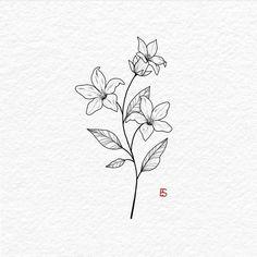 AllyBeth Design Co , ink art. Jasmine Flower Tattoos, Small Flower Tattoos, Small Flower Drawings, Hibiscus Flower Tattoos, Simple Flower Tattoo, Tattoo Floral, Lotus Flower, Small Forearm Tattoos, Small Tattoos