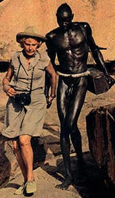 Leni Riefenstahl with a man from the Nuba tribe, Sudan.