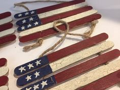 Handmade US flag crafted of Popsicle sticks, jute, and craft paint. Show your patriotism year-round with these rustic American flags. The white stripes have a crackled finish and flags hang nicely from the jute. *Order Includes One Ornament* Patriotic Crafts, July Crafts, Summer Crafts, Holiday Crafts, Christmas Crafts, Crafts For Kids, Quick Crafts, Patriotic Decorations, Christmas Activities