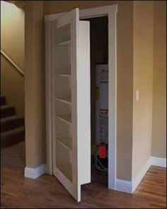 Usually, when you have a closet with a heater inside it, it becomes useless use of space. What you can do to make that space shine is change the door and create a bookshelf out of it! Its an easy and inexpensive DIY project worth your time and money! Youll be happy you did it afterward!