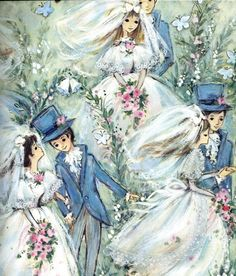 Single Sheet of Vintage Wrapping Paper Wedding by Revolving, $3.75