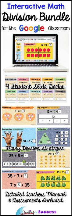 Improve memorization and help students divide fluently with this digital Google Slides Resource by focusing on unknown factor and other division strategies. Division strategies include using arrays, creating equal groups, fact families, skip counting, using multiplication to divide, strip diagrams, half, half of half for dividing by 4, and half of half of half for dividing by 8. Fun, self paced, differentiated division practice motivates students to pass each assessment.
