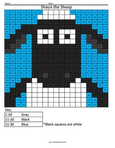 Shaun the Sheep- Practice Multiplication Cool Coloring Pages, Cartoon Coloring Pages, Multiplication, Easy Math Games, Cross Stitch Patterns, Quilt Patterns, Color Puzzle, Shaun The Sheep, Peler Beads