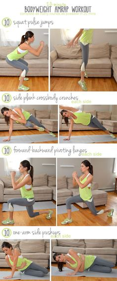20-Minute Bodyweight AMRAP Workout. I completed 5 1/2 rounds--see if you can beat me! Make sure to check out our fitness tips, nutrition info and more at https://www.getyourfittogether.org/